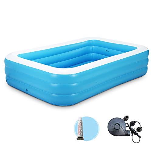 Aufblasbares Planschbecken Kiddie Pool Rectangular Frame Pool Soft Side Dicker Langlebig Faltbar (inkl. Reparatur-Kit) Für 3+ Jahre 305x183x56cm -
