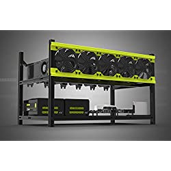 Bleev.In Veddha Deluxe 6GPU Minercase V3d 6Bay en Aluminium empilable Mining Rig Open Air Frame Coque (Blackstorm/Jaune)
