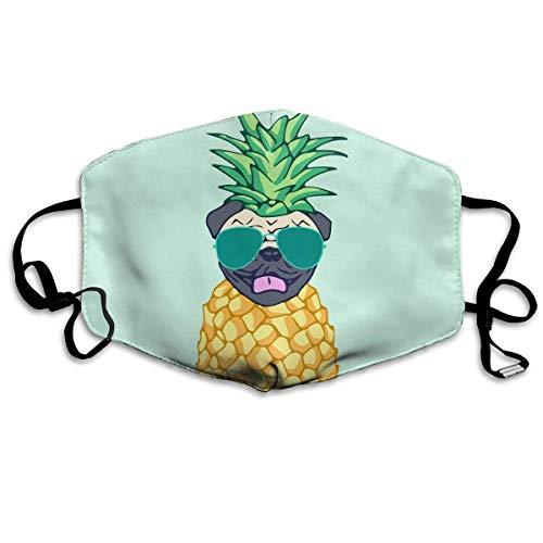 Mundmaske Mops Ananas mit Sonnenbrille, Ohrschlaufe, verstellbar, elastischer Riemen für Radfahren, Outdoor, Anti-Virus, Staubdicht, Atemschutzmaske, halbes Gesicht -