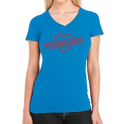 Vergeben Stempel auf Herz - Design für Verliebte Damen T-Shirt V-Ausschnitt california blau