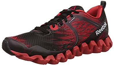 Reebok Men's Zig Squared Cruz Black and Red Leather Running Shoes - 13 UK