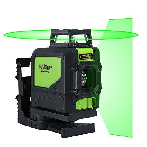 Levelsure 901CG Laser Level Lautlos, Green Beam Linienlaser Selbstnivellierende 360-Grad-Abdeckung Horizontale Linie mit vertikaler Linie mit magnetischen Pivoting Base