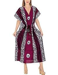 LA LEELA Donne Cotone Kaftan Tunica Batik Kimono Libero Formato Lungo Maxi  Partito Caftano Vestito per af93f5c6ea9