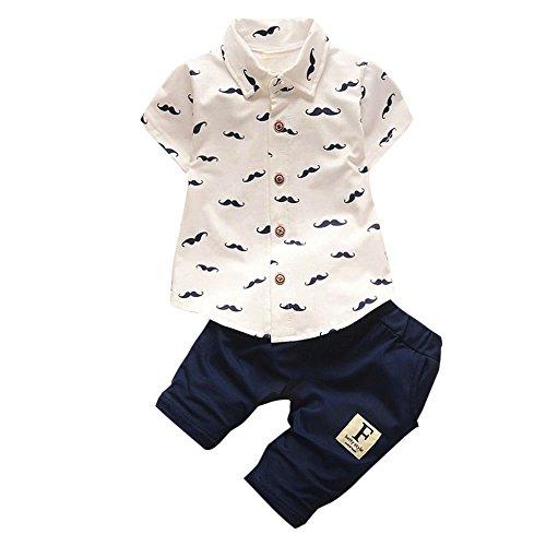 JYJM Neugeborenes kühles Baby Buchstabe Tätowierungs-T-Shirt Oberseiten-Hosen Ausstattungs Kleidung Satz (Größe: 12-18 Monate, Weiß)