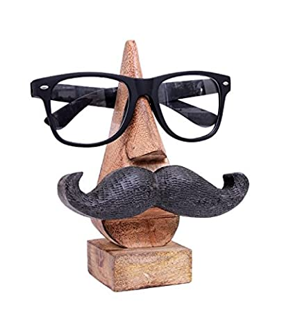 Classic Hand Carved Rosewood Nose-shaped Eyeglass Spectacle Holder with Black Moustache