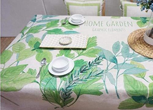 YHEGV Tischdecke Tischdecke Blau Und Grün Tischdecke Rechteck Pflanze Blumen (Farbe: A, Größe: 200 * 140cm) - Rechteck Blau Tischdecke