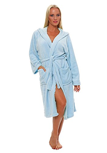 L.E.M.B. Hometrends Herren Damen Bademantel mit Kapuze Morgenmantel Kingston Microfaser Unisex SkyBlue M