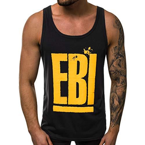 (Oyedens EBI Herren Sportweste Sommer Brief Print Stretch ÄRmelloses Weste Shirt Tshirt Tank Tops)
