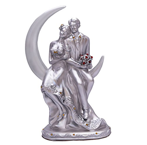 Avighna Romantic Moon Love Couple Showpiece Statue Valentine