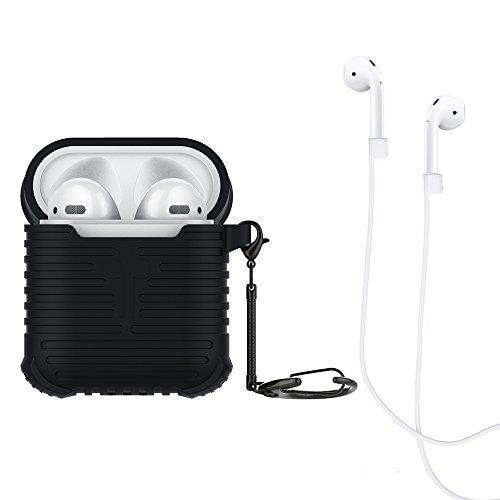 Bidear Custodia Silicone per Airpods, Cover Protettiva Prova d'urto Case in Silicone con Portachiavi + Cinghia di Sport per Apple Airpods (Nera)