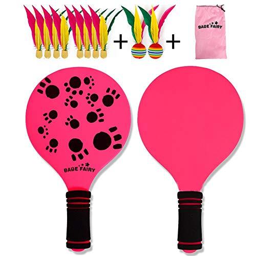 Ksruee Paddle Ball Schläger Spiel Set, Racket Strandball Badminton Federball Schläger Cricket Ball für Kind Erwachsene Indoor Outdoor Spiel Spielzeug