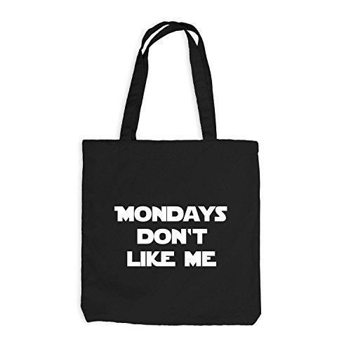 Iuta sacchetto–Mondays Don' t Like Me–Lunedì Fun Work Nero