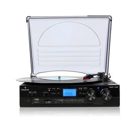 Auna TT-186E Stereo Turntable Record Player LP USB SD MP3 Recording FM Radio Tuner (Integrated (Centro Telaio Di Montaggio)