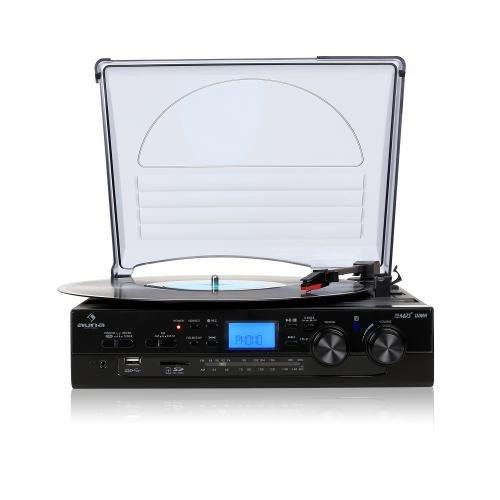 Auna TT-186E Chaîne stéréo moderne avec platine vinyle (fonction d'enregistrement USB-MP3, haut-parleur intégré, radio FM, slot SD) - noir