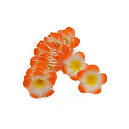 Strawberryran Plumeria 10Pcs Künstliche Schaum Ei-Blumen-Köpfe für Haarband-Kranz-Strand-Party Hochzeit Dekorationen, Gelb, M Cherry Blossom Vase Medium