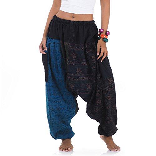 Princess of Asia Weite Jeans Patchwork Hippie Hose Haremshose Aladinhose Pumphose für Damen & Herren 36 38 40 42 S M ()