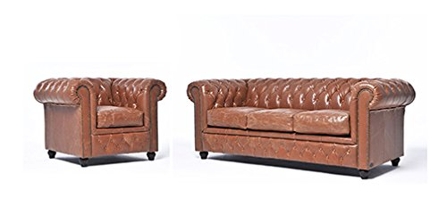 Original Chesterfield Sofa und Sessel – 1 / 3 Sitzer – Vollständig Handgewaschenes Leder – Vintage Mokka