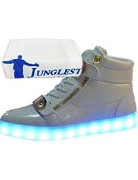 [Present:kleines Handtuch]Silber EU 35, und Mode Sportschuhe Laufschuhe Sneaker weise Wechseln Freizeitschuhe für LED-Licht JUNGLEST® Schuhe Leuchtend USB Herren Farbe Kinder