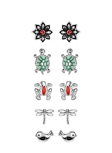 Schmuck Kostüm Libelle (Neoglory Jewellery 5 Paare Kinder Ohrringe Silber und Gold Blume Libelle Frosch Vogel Schildkröten)