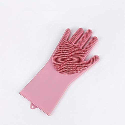 WFSM 1 Doppelsilikon-Spülhandschuhe Spülbürste Haushaltshandschuhe rutschfest Verschleißfeste Küchenhandschuhe Magic Haushaltshandschuhe Single-Pink L