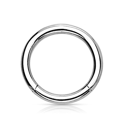 Kultpiercing - Universal Segment Piercing Segmentring Septum Tragus Helix Ohr Nase Lippe Brust Intim Scharnier Clicker Ring - 1,2 x 8 mm - Silber