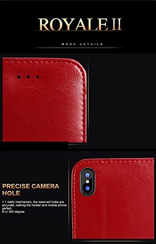 COVO   iPhone X Funda Funda Piel genuina Billetera Funda para iPhone X con Stand Funci  n Negro
