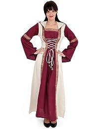 Vestido medieval - Saphiria - Disfraz Mujer - burdeos y natural