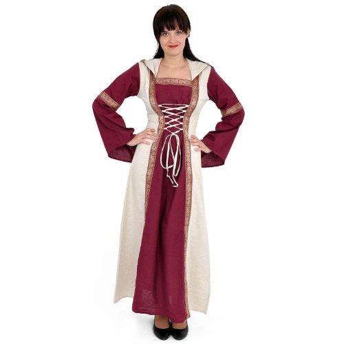 Elbenwald Mittelaltergewand Kleid mit Schnürung, Festival-und LARP Kapuzenkleid - - Empire Larp Kostüm