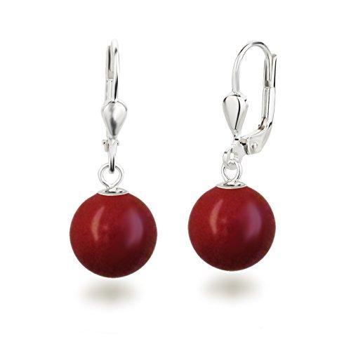 SD, Bellissimi orecchini pendenti con perle, in argento 925, con perle rotonde dalla dimensione di 10 mm e Argento, colore: Corallo Rosso , cod. OH-Ku10-kor