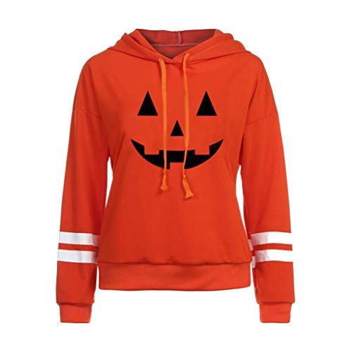 VEMOW Herbst Festival Cosplay Kostüm Damen Halloween Langarm Casual Daily Party Outdoors Hoodie Sweatshirt Pullover mit Kapuze Pullover Tops Bluse(Orange 3, EU-38/CN-S)