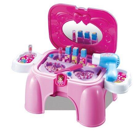 Schminktisch für Kinder - Beauty-Salon in einem stabilen Hocker - Auch als Schminkkoffer tragbar