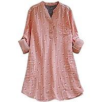 Luckycat Camisetas Mujer, Camisas Mujer de Vestir Blusas de Moda túnica vaporosa de Manga Larga Camisa con Cuello de Pico Sudadera básica Jersey Sueter Invierno