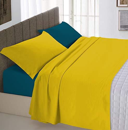 Italian Bed Linen Natural Color Completo Letto Double Face, 100% Cotone, Una Federa, Ocra/Verde Petrolio, Una Piazza e Mezza
