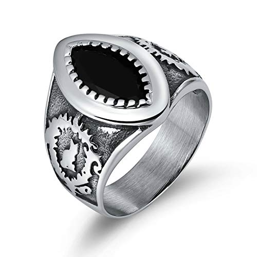 Medusa Stein Mann Und Kostüm - Amody 20MM Punk Biker Ring für Mann Edelstahl Einzel Weinlese Muster mit Zirkonia schwarz Gothic Rings Knuckle Größe 60 (19.1)