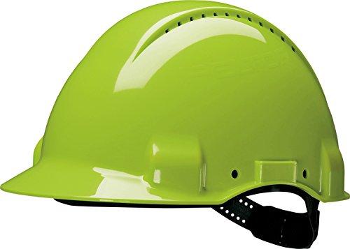 3M G30DUV Peltor Schutzhelm G3000D, ABS, Helm Innenausstattung mit Leder SchWeißband und Pinnlock Verschluss, belüftet, NeonGrün (Peltor Helm)