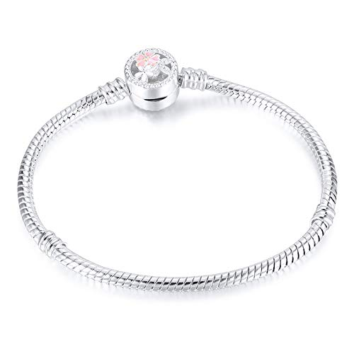 XIANNU Damen Armband,Farbe: Silber Poetische Daisy Cherry Blossom Gemischt Emaille Klar Schlangenkette Armband Für Frauen Schmuck 19 cm Bohemia Blossom