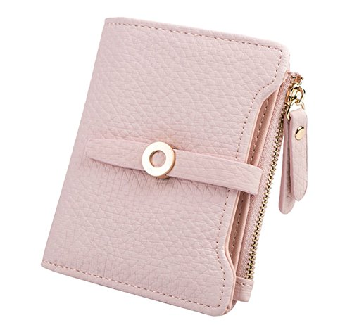 Nawoshow Women Cute Small Wallet PU Leather Girls Change Clasp Purse Card Holders Coin Purse (Pink)