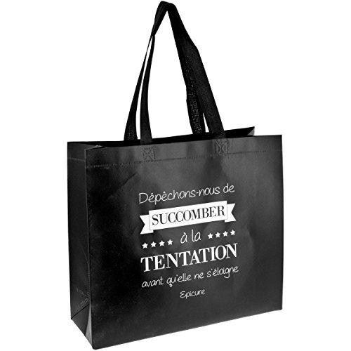 Promobo Sac Pour Course Shopping Cabas Citation Succomber A La Tentation Noir