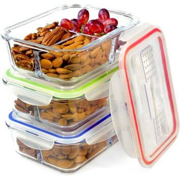 Glasbehälter Set mit Deckel (x3) | 3-Kammer-Behälter aus Glas mit Soßenbehältern, Besteck, Etiketten | perfekt als Lunchboxen, Vorratsbehälter für Ofen, Mikrowelle, Gefrierschrank