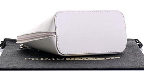 In pelle italiana, Small/Micro croce corpo borsa o borsetta borsa a tracolla.Include una custodia protettiva di marca. Bianco (crema)