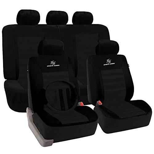 o Schonbezug, 12 teillige Sitzbezüge mit Lenkradbezug und Gurtpolster für Auto, universal, schwarz ()