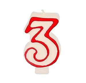 Partygram - Vela de Cumpleaños Número 3 - Blanca con Filo Rojo