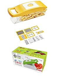 HOME CUBE® High Quality 12 in 1 Fruits And Vegetable Cutter -Slicer , Chopper, Grater, Peeler - All In One (Yellow)