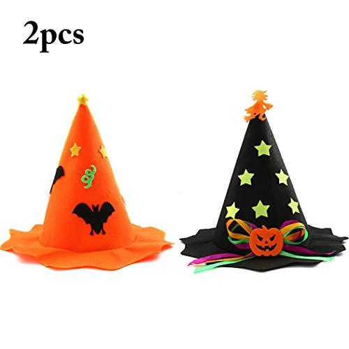 Zoylink 2 Stück Hexen Hut Kostüm Hut Hexe Fledermaus Kürbis Dekor Halloween Cosplay - Kürbis Hexe Kostüm