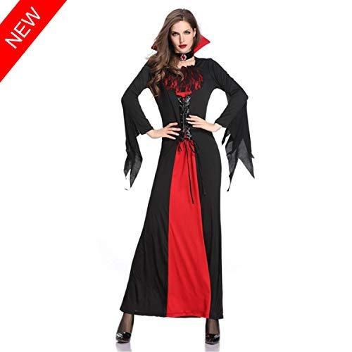 Kostüm Teufel Männlich Makeup - TSMDHH Erwachsene Dame Halloween New Vampire Bat Kostüm Bühnenparty In Rot Und Schwarz Spitze Teufel Cosplay Kleid Gekleidet