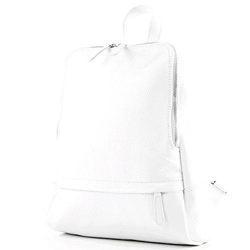 modamoda de - ital Damen Rucksacktasche aus Leder T138, Präzise Farbe:Weiß