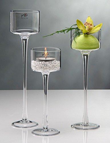 Sandra Rich 3 Größen, Teelichthalter auf Fuß, Glas, H. 15-20-30cm D. 9cm rund Glas 9