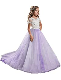 NNJXD Niñas Bordado De Encaje Flor De La Boda Fiesta De Cumpleaños Princesa Vestido de Cola