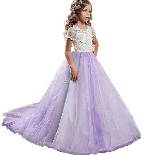 NNJXD Mädchen Spitze Applique Gestickte Prinzessin Langes Kleid Hochzeit Brautjungfer Prom Kleider Größe (170) 13-14 Jahre Lila Brautjungfer Prom Kleid