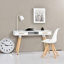 [en.casa] Escritorio retro (75x120x45cm) blanco lacado mate - cajón - con silla blanca